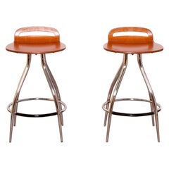 Pair of 1960s Calligaris Gin Chrome and Wood Mid-Century Modern Barstools