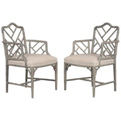 Pair of 1960s Carved Wood Bamboo Design Armchairs