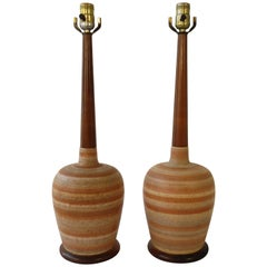 Pair of 1960s Ceramic and Wood Swirl Painted Lamps