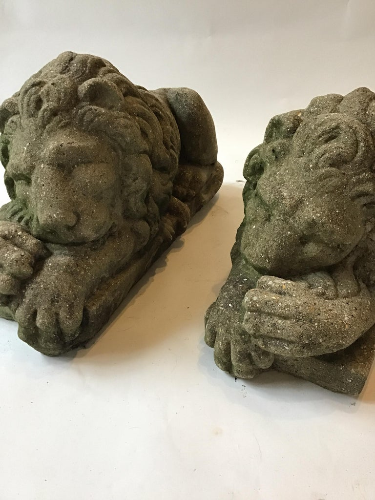 Pair of 1960s concrete sleepy lions from a Greenwich, Connecticut estate.