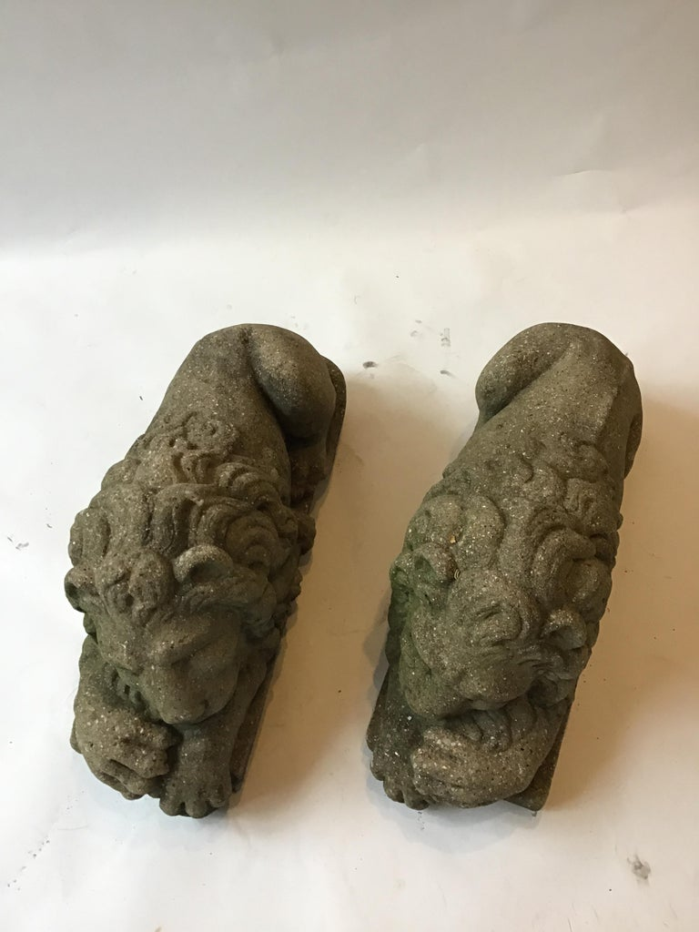 Pair of 1960s Concrete Sleepy Lions In Good Condition For Sale In Tarrytown, NY