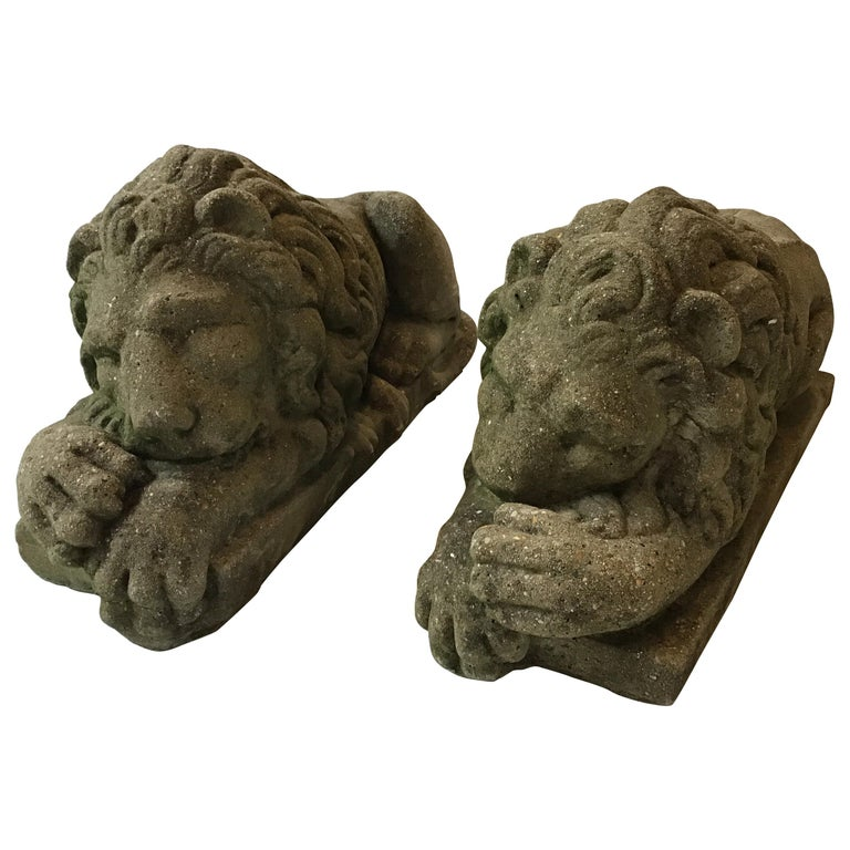 Pair of 1960s Concrete Sleepy Lions For Sale