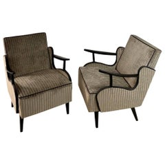 Pair of 1960s Czech Armchairs in Silver Corduroy Velvet with Ebonized Frames