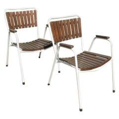 Pair of 1960s Danish Daneline Stackable Teak Garden Chairs