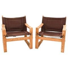 Pair of 1960s Danish Modern Borge Jensen Safari Sling Armchairs