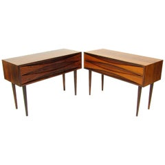 Pair Of 1960s Danish Rosewood Bedside Tables / Cabinets By Niels Clausen