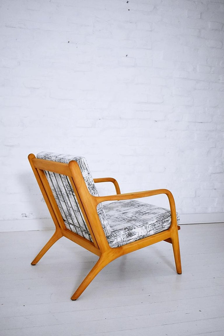Chenille Pair of 1960s Easy Chairs in Style of Adrian Pearsall For Sale