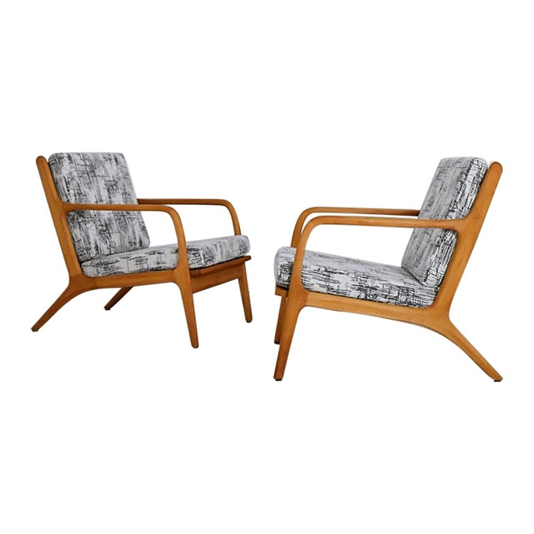 Pair of 1960s Easy Chairs in Style of Adrian Pearsall For Sale