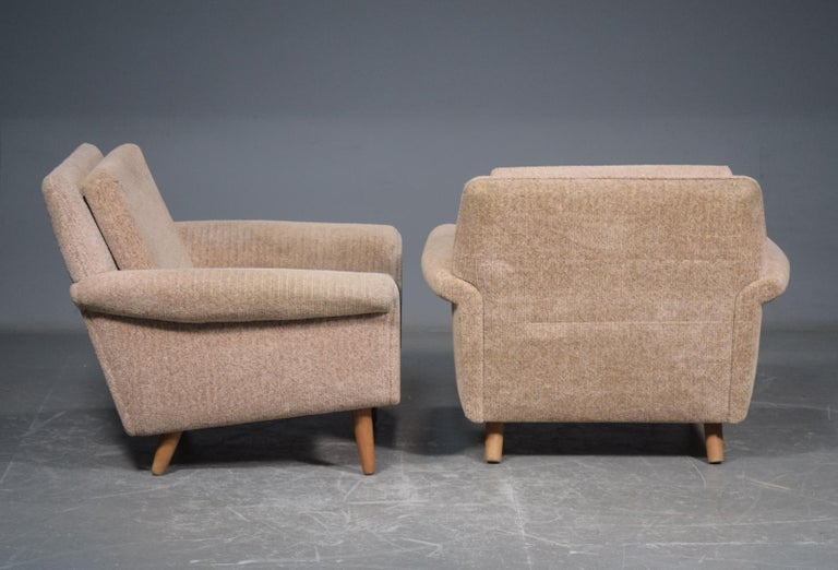 Mid-Century Modern Pair of 1960s Easy Lounge Chairs Model Diplomat by Aage Christiansen for ERAN For Sale