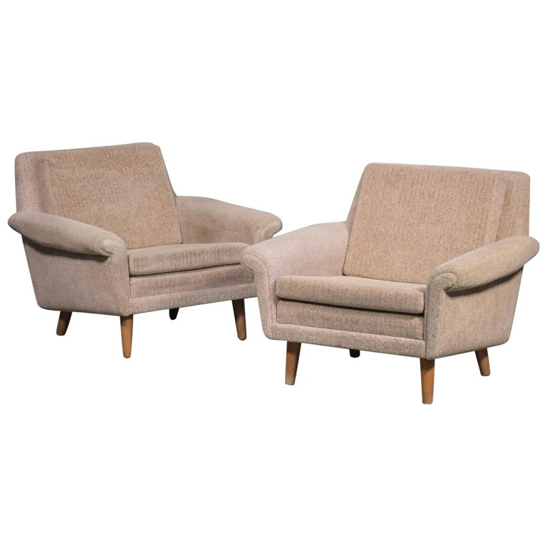 Pair of 1960s Easy Lounge Chairs Model Diplomat by Aage Christiansen for ERAN For Sale