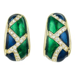Pair of 1960s Enamel and Diamond Gold Earrings
