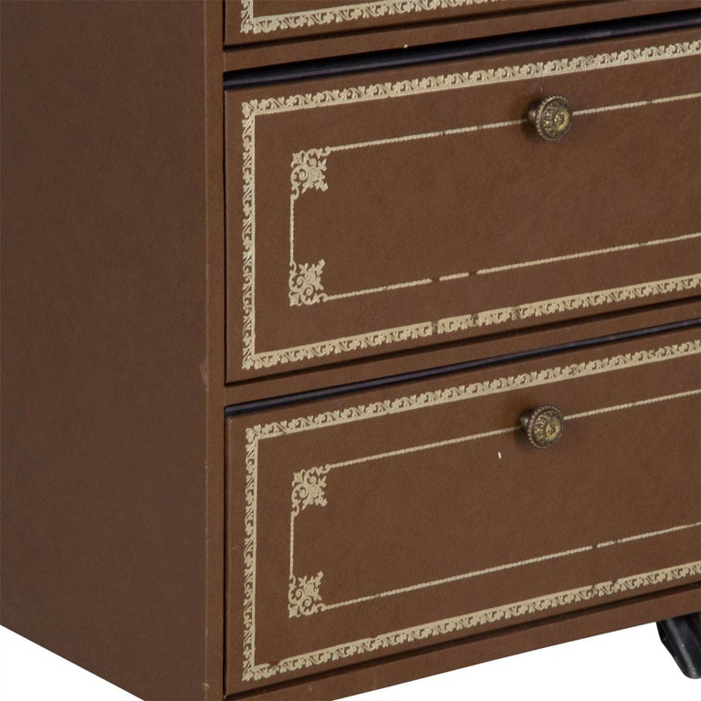 Leather Pair of 1960s French Bedside Drawers For Sale