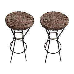 Pair of 1960s French Rattan Bar Stools on Black Metal Frames