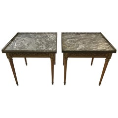 Pair of 1960s French Style Louis XVI Marble-Top Side Tables