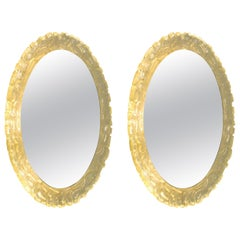 Pair of 1960s German Balschbach Illuminated Oval Backlit Lucite Wall Mirrors