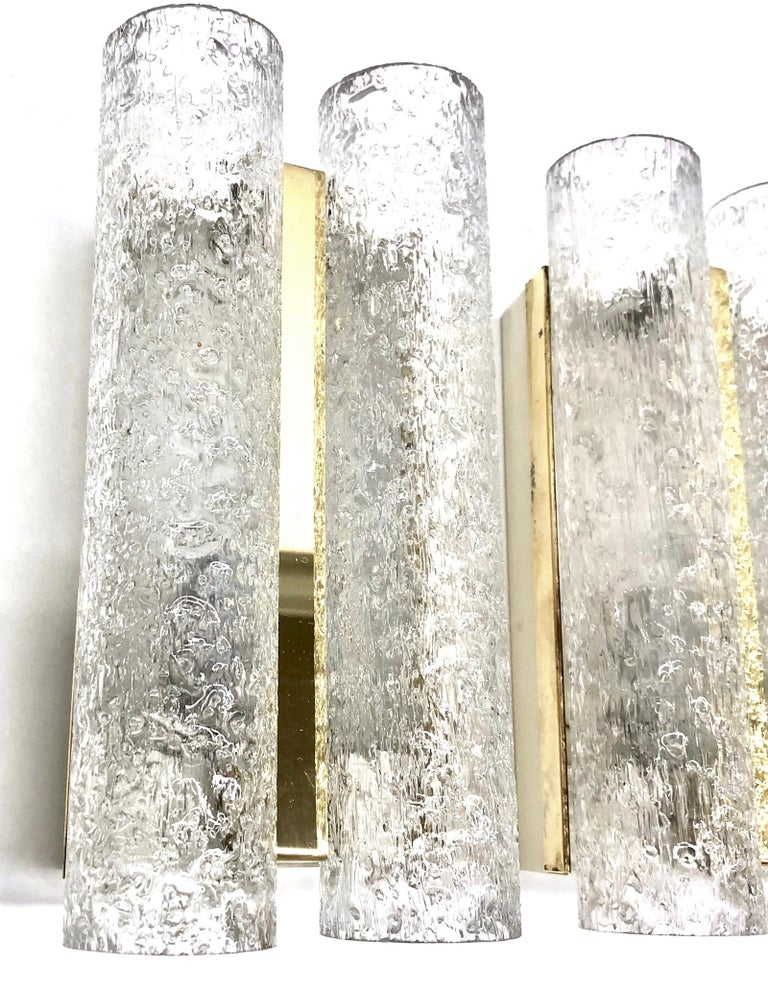 Metal Pair of 1960s German Brass Doria Glass Tubes Sconces For Sale