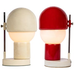Pair of Glass and Metal Table Lamps Attributed to Angelo Lelli for Arredoluce