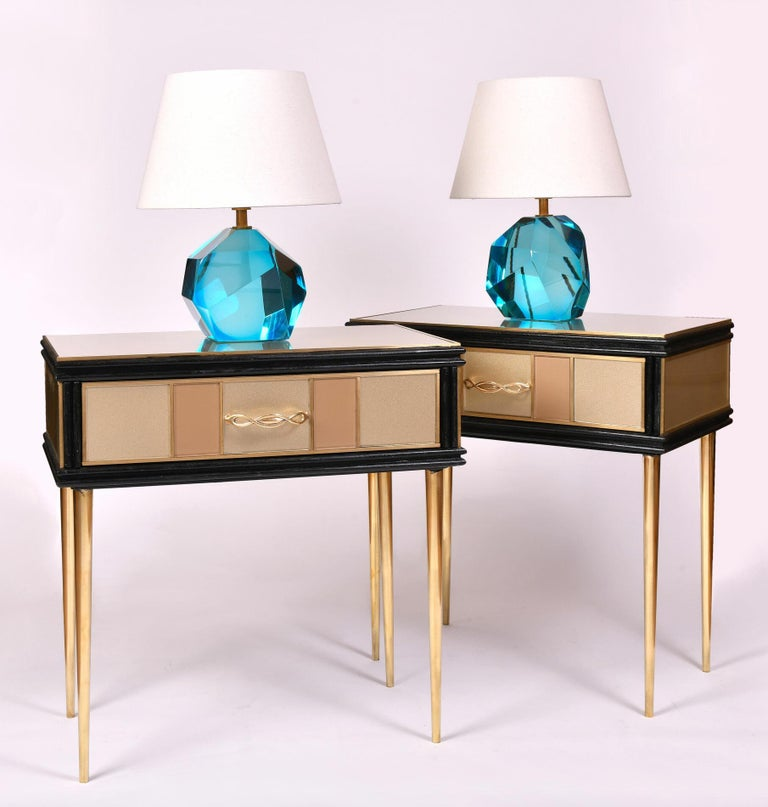 20th Century Pair of 1960s Gold and Brass Glass Bedside Tables For Sale