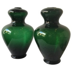 Pair of 1960s Green Murano Lamp Bodies by Balboa, 1
