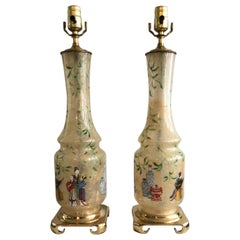Pair of 1960s Hand Painted Asian Glass Lamps on a Brass Base