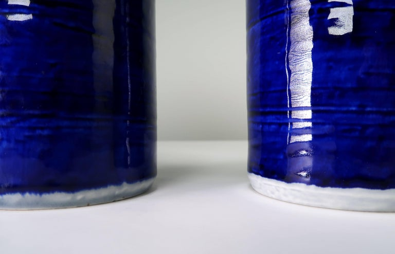 Pair of Olle Alberius for Rorstrand Hand-Painted Titus Ceramic Vases, 1960s In Excellent Condition For Sale In Copenhagen, DK