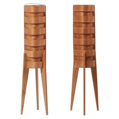 Pair of 1960s Hans-Agne Jakobsson Wood Tripod Floor Lamps for AB Ellysett