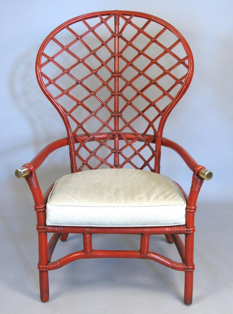 Pair of 1960s High Back Lattice Rattan Lounge Chairs In Good Condition For Sale In Hudson, NY