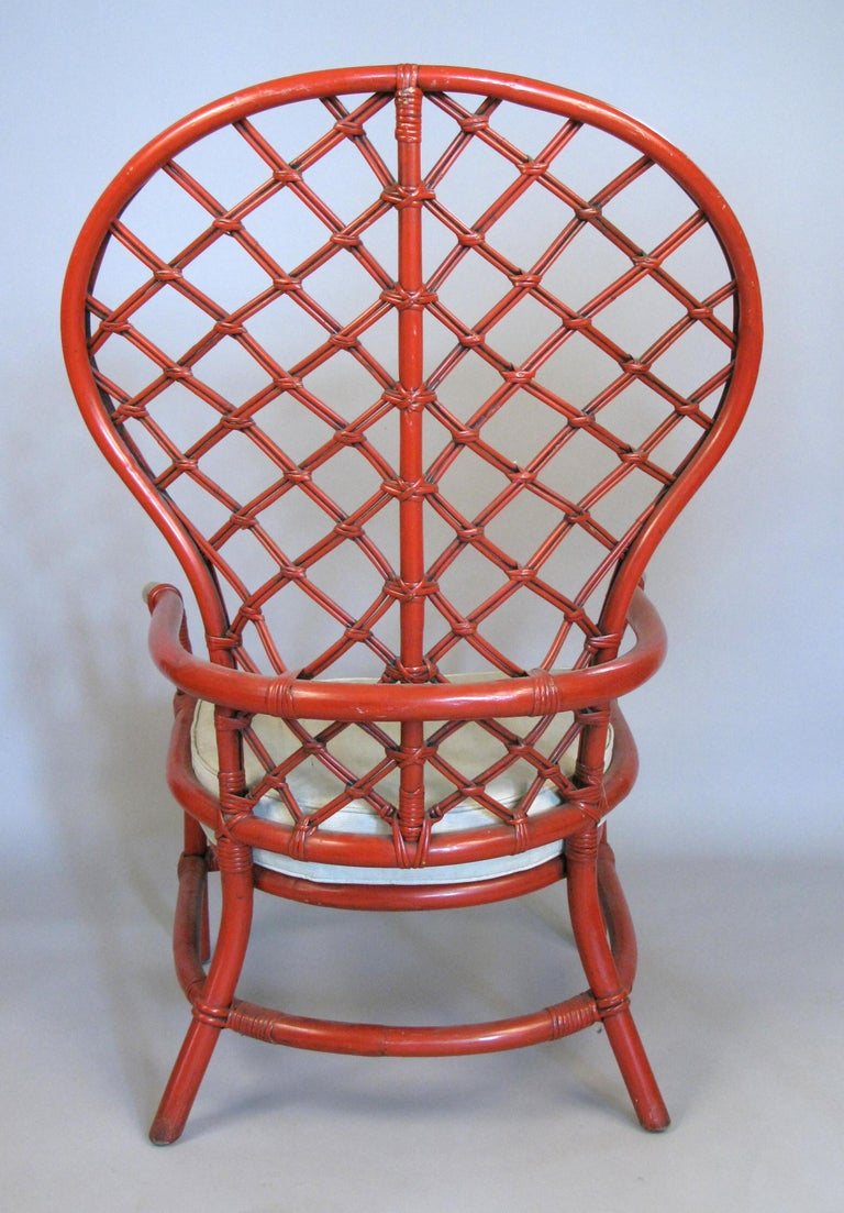 Pair of 1960s High Back Lattice Rattan Lounge Chairs For Sale 2