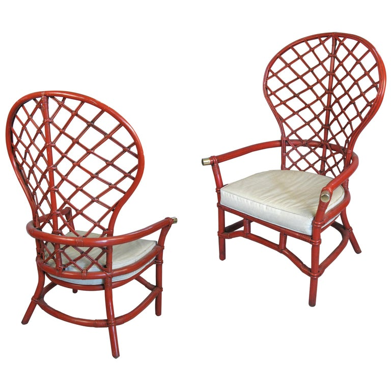 Pair of 1960s High Back Lattice Rattan Lounge Chairs For Sale