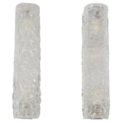 Pair of 1960s Ice Glass Wall Lights