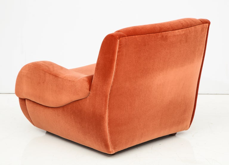 Pair of 1960s Ico Parisi Style Sculptural Italian Lounge Chairs in Rust Velvet For Sale 1
