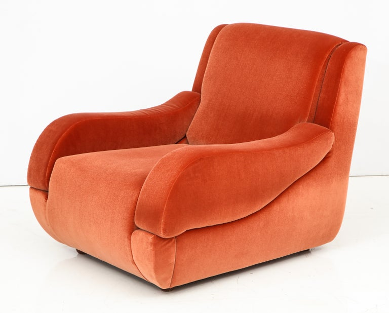 Pair of 1960s Ico Parisi Style Sculptural Italian Lounge Chairs in Rust Velvet For Sale 2