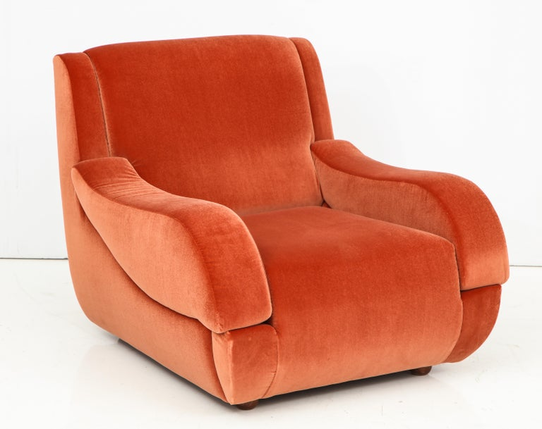 Pair of 1960s Ico Parisi Style Sculptural Italian Lounge Chairs in Rust Velvet For Sale 4