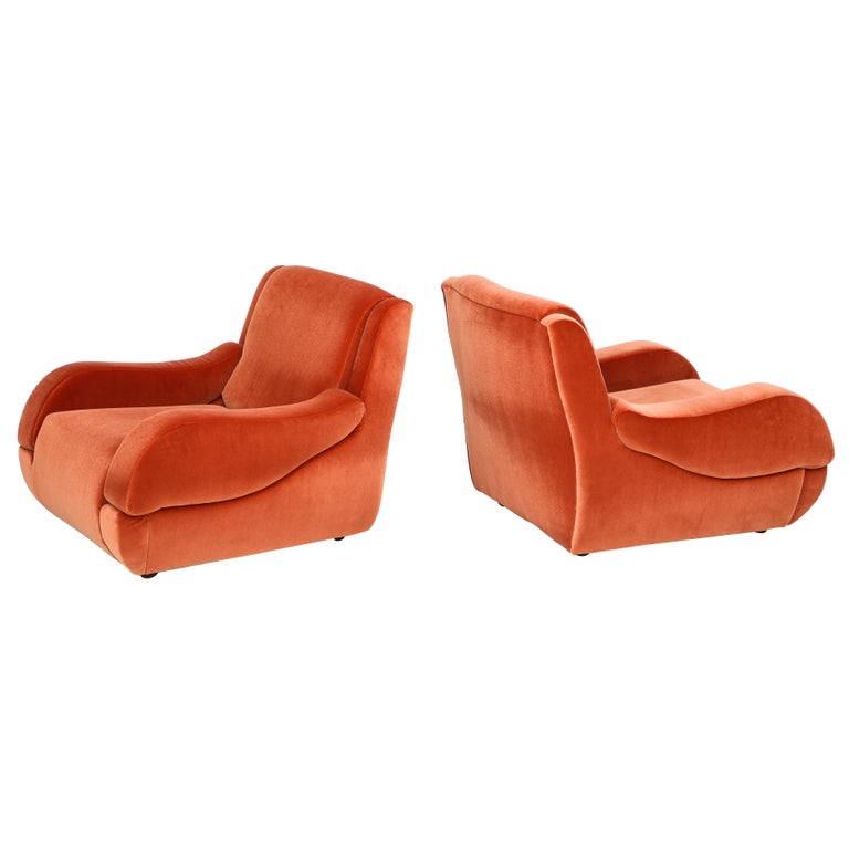 Pair of 1960s Ico Parisi Style Sculptural Italian Lounge Chairs in Rust Velvet For Sale
