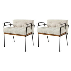 Pair of 1960s Iron and Cane Lounge Chairs by Maurizio Tempestini for Salterini