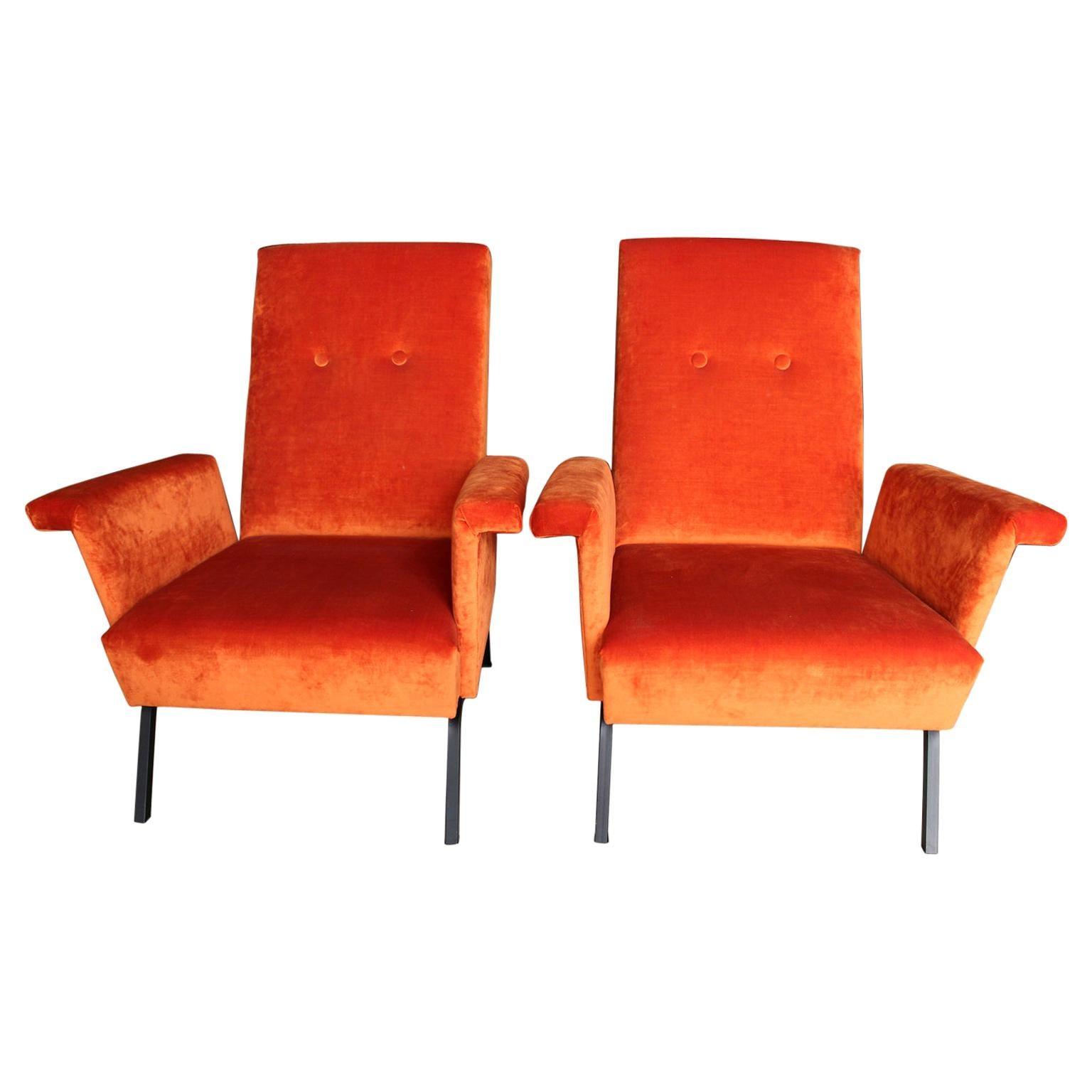 Pair of 1960s Italian Armchairs in Orange Velvet Metal Base
