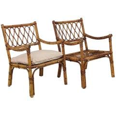 Pair of 1960s Italian Bamboo Rattan Bohemian French Riviera Lounge Armchair