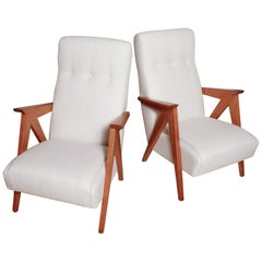 Pair of 1960s Italian Beechwood Compass Lounge Chairs