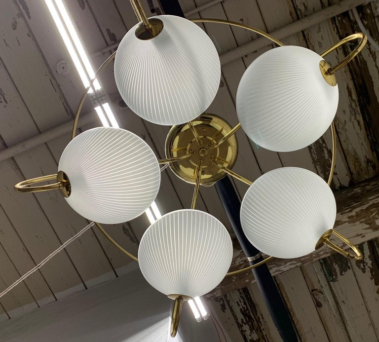 Mid-Century Modern Pair of 1960s Italian Brass and Glass Light Fixture / Chandelier For Sale