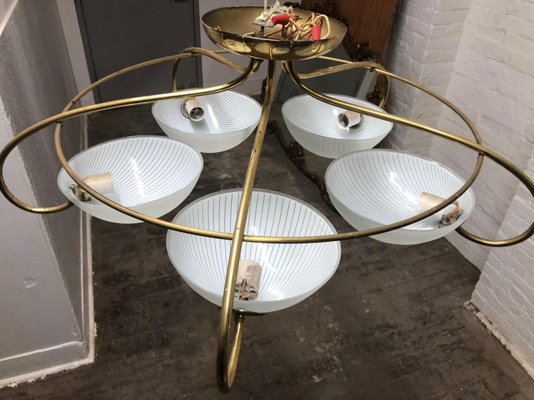 Pair of 1960s Italian Brass and Glass Light Fixture / Chandelier For Sale 1