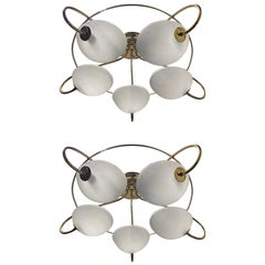 Pair of 1960s Italian Brass and Glass Light Fixture / Chandelier