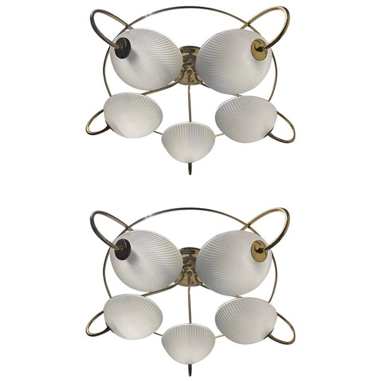Pair of 1960s Italian Brass and Glass Light Fixture / Chandelier For Sale