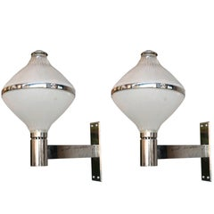 Pair of 1960s Italian Chrome Sconces by Sergio Mazza for Artemide