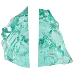 Pair of 1960s Italian Green Glass Bookends in the Style of Fontana Arte