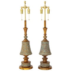 Pair of 1960s Italian Hollywood Regency Style Lamps