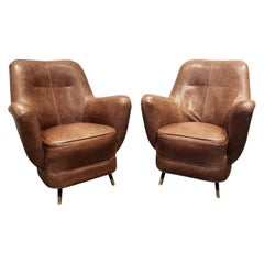 Pair of 1960s Italian Leather Club Chairs