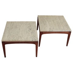 Pair of 1960s Italian Mid-Century Modern Teak and Travertine Side Tables