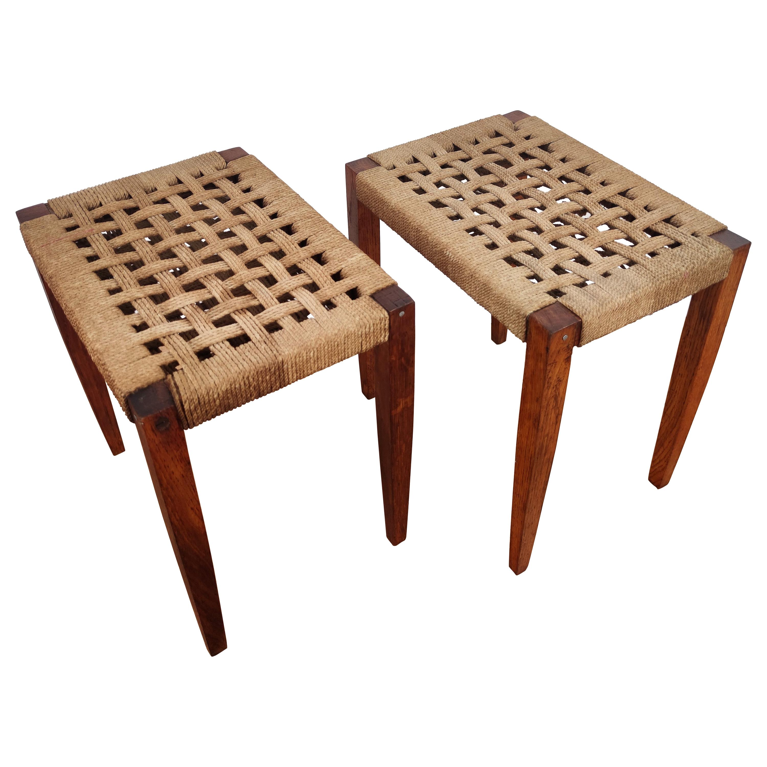 Pair of 1960s Italian Midcentury Wood and Cord Woven Rope Stools