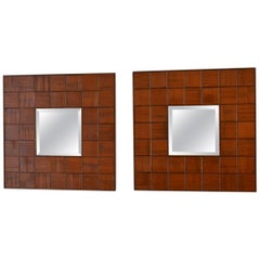 Pair of 1960s Italian Pair of Square Mirrors in Hand Carved Wood Relief