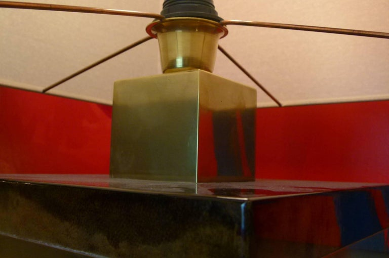 Pair of 1960s Italian Parchment and Brass Table Lamps by Aldo Tura In Excellent Condition For Sale In Saint-Ouen, FR